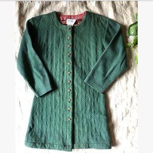 Vtg Green Quilted Long Coat